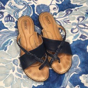 Navy blue born padded leather sandal 6